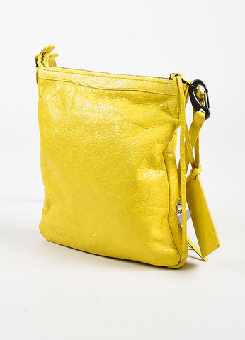 Balenciaga Yellow Leather Classic Flat Crossbody Bag Sideview