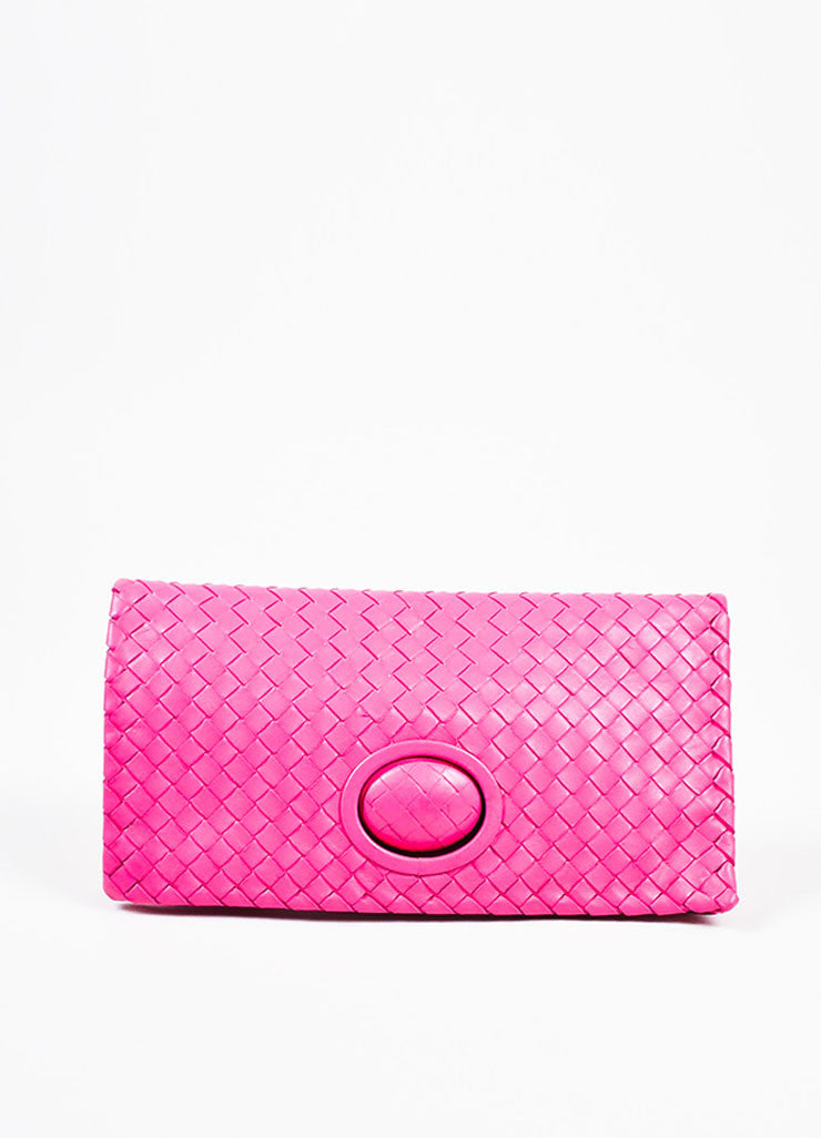 "Bottega Veneta Hot Pink ""Intrecciato"" Nappa Leather Turn Lock Clutch Bag Frontview"