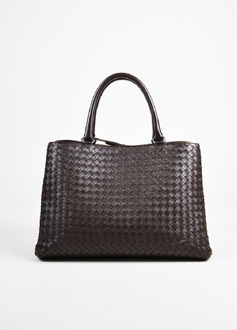 "Bottega Veneta Brown Intrecciato Leather ""Milano"" Tote Bag Frontview"