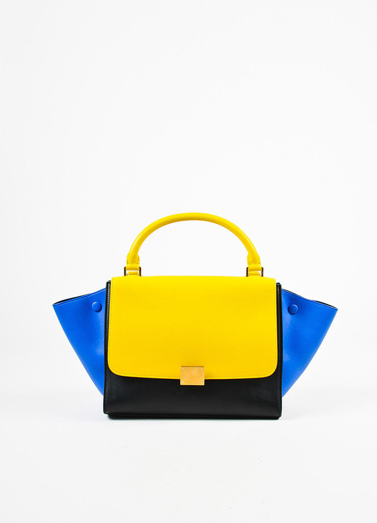 Celine Sunflower Yellow Black Blue Calfskin Leather Small Trapeze Bag Front