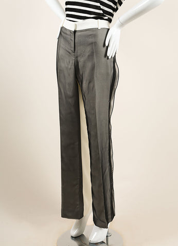 Celine White and Black Silk Sheer Oversized Wide Leg Tailored Trousers Sideview