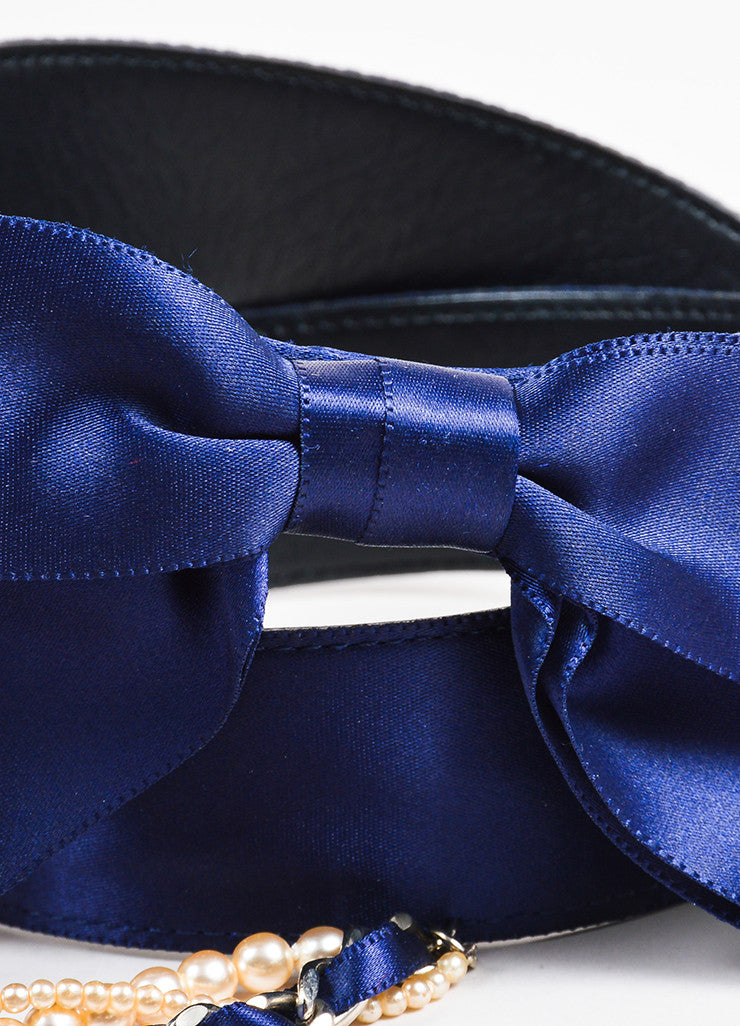 Chanel Navy Blue Satin Faux Pearl Chain Bow Belt Detail