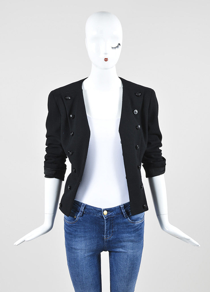 Black Chanel Wool Military Style Structured Cropped Blazer Jacket Frontview