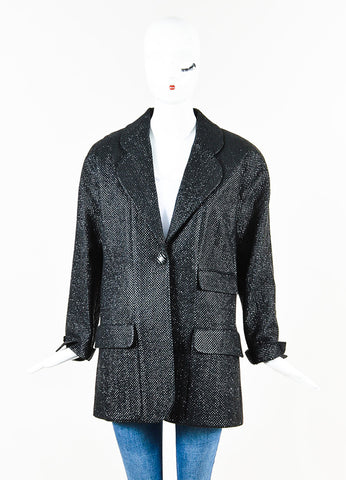 Chanel Black Metallic Silk Blend Coated Tweed Single Button Blazer Front