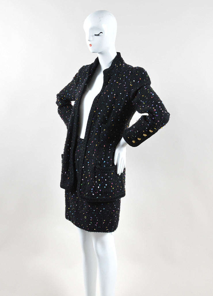 Chanel Black and Multicolor Speckled Tweed Jacket Pencil Skirt Suit Sideview