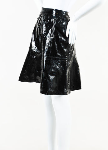 Chanel Black Patent Leather Fit Flare Skirt Side