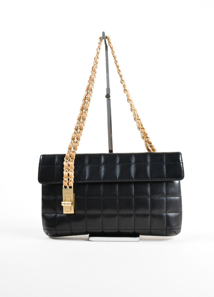 Chanel Black Chain Strap Quilted Leather Mademoiselle Lock Flap Bag Frontview