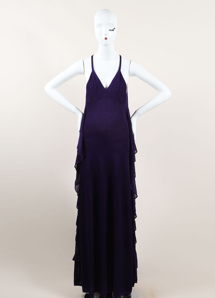 Chanel Purple Woven Knit Ruffle Draped Full Length Halter Dress Frontview