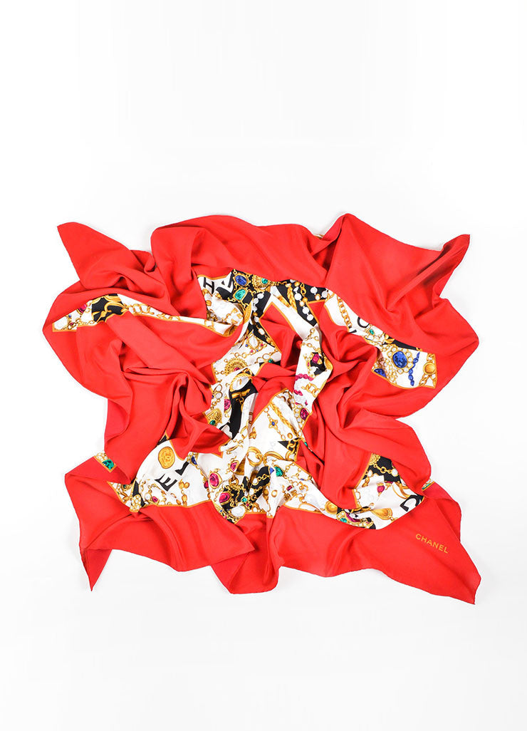 Chanel Red Black Gold Silk Jewel Print 'CC' Logo Scarf Front