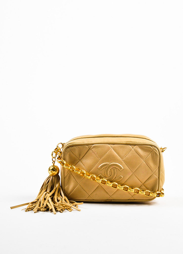 Chanel Tan Gold Tone Lambskin Leather Quilted 'CC' Tassel Shoulder Bag frontview