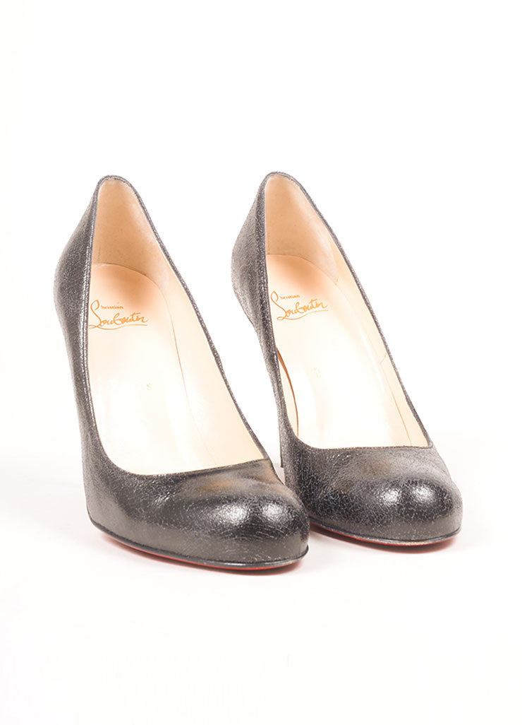 Christian Louboutin Black Crackle Leather Round Toe Pumps Frontview