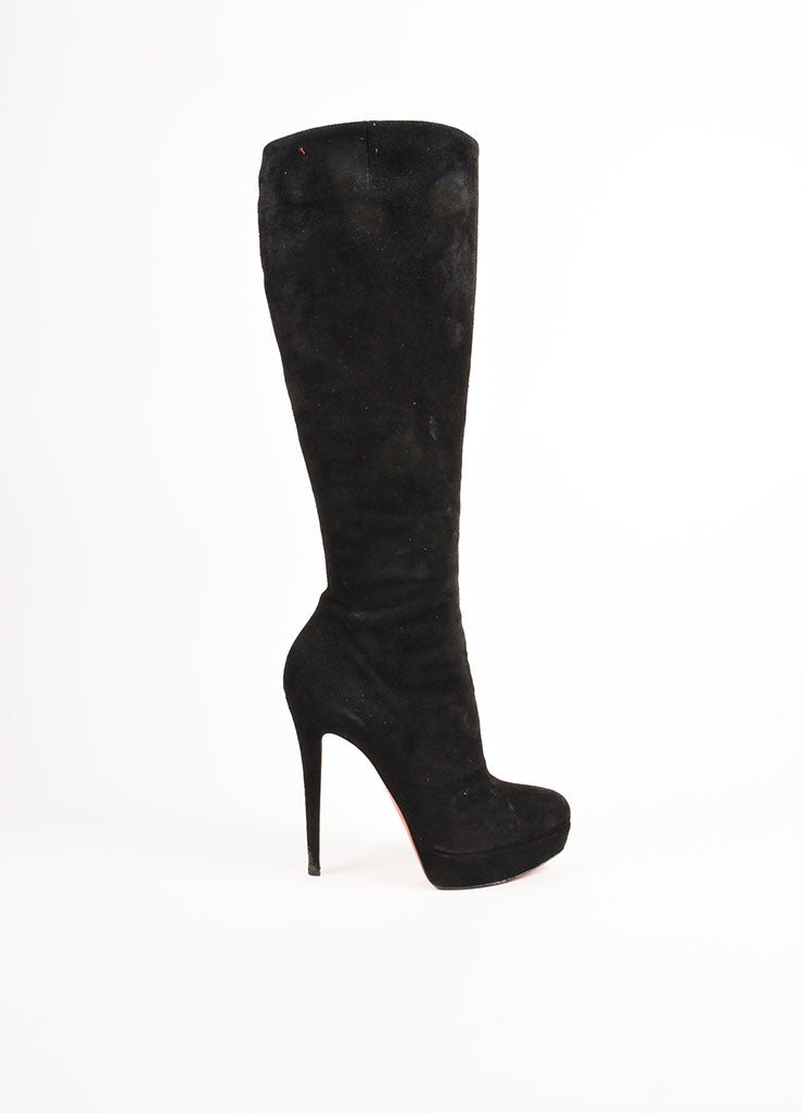 "Christian Louboutin Black Suede High Heel ""Bianca Botta 140"" Tall Boots Sideview"