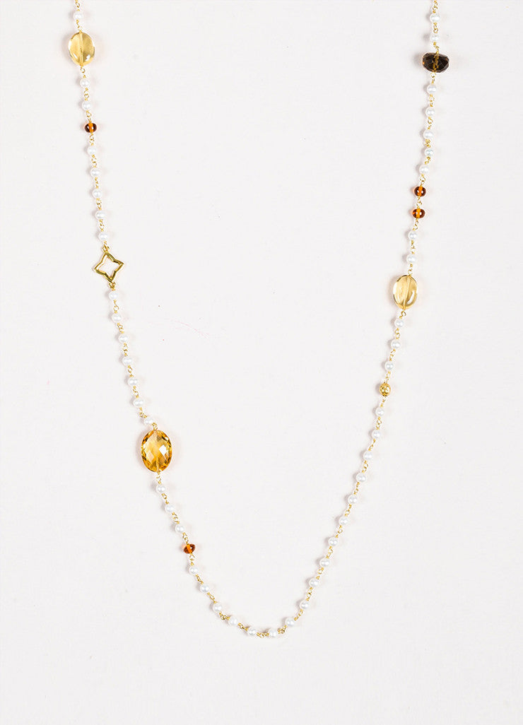 "David Yurman 18K Gold Pearl Citrine Smoky Quartz ""Potpourri"" Necklace Front"