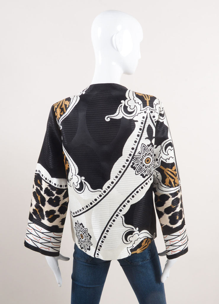 Etro New With Tags Black, White, and Brown Woven Wool and Silk Blend Printed Jacket Backview