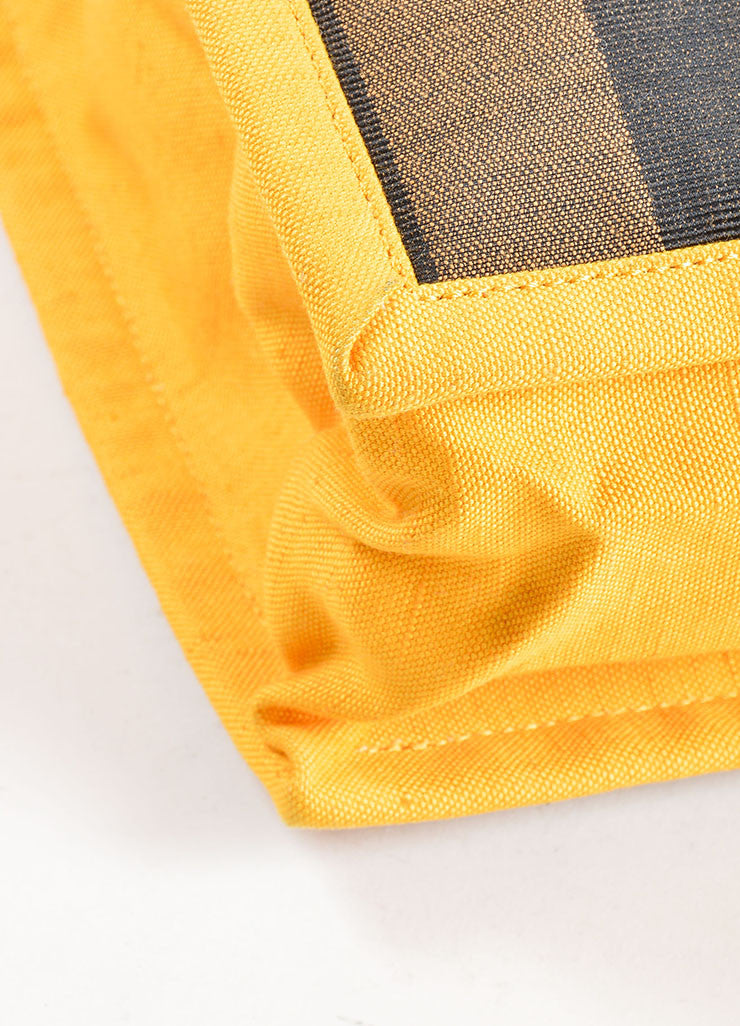 "Fendi Brown and Yellow Canvas Striped ""Pequin"" Small Shopping Tote Bag Detail"