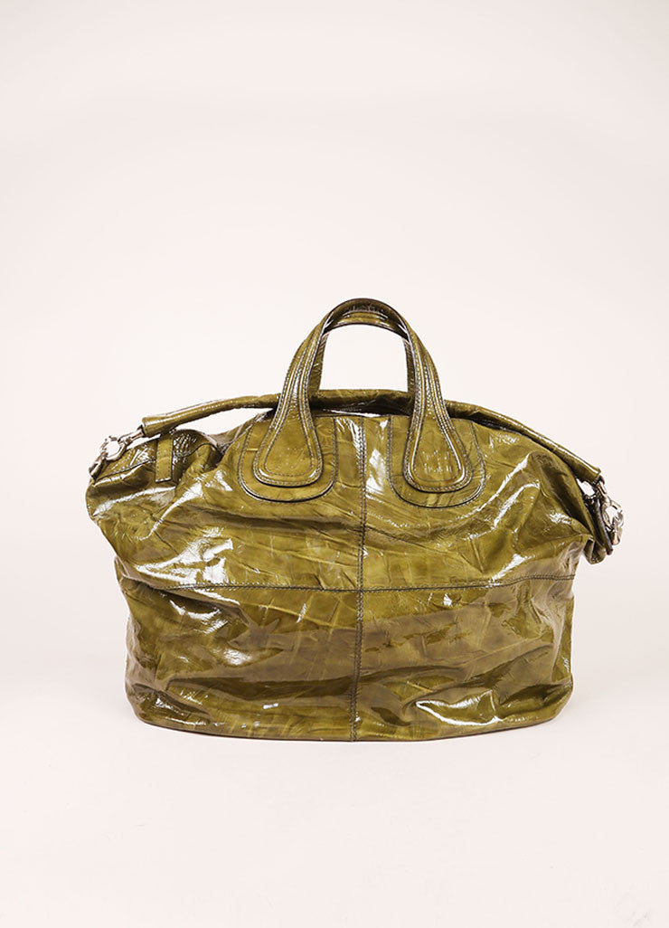 "Givenchy Green Crinkle Patent Leather Large ""Nightingale"" Tote Bag Frontview"