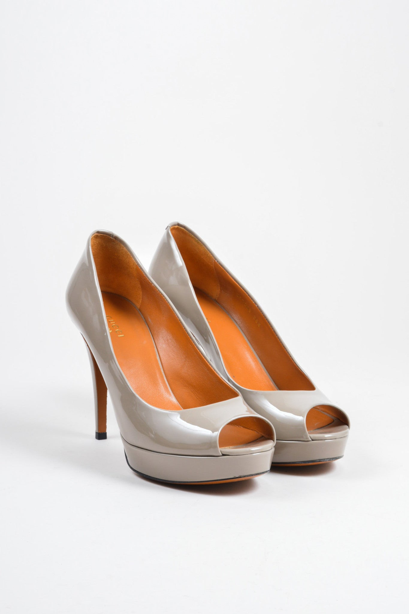 Grey Gucci Patent Leather Platform Peep Toe Pumps Frontview