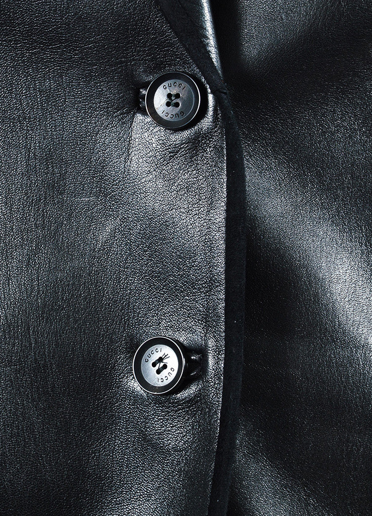 Gucci Black Leather & Suede Trimmed Dual Button Jacket Detail