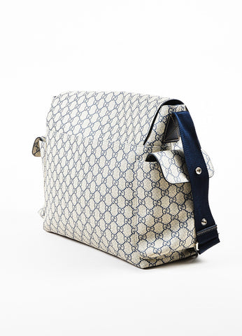 Cream and Navy Gucci Coated Canvas 'GG' Printed Messenger Diaper Bag Sideview