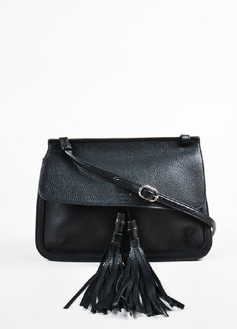 "Gucci Black Pebbled Leather Bamboo Tasseled Crossbody ""Daily"" Flap Bag Frontview"