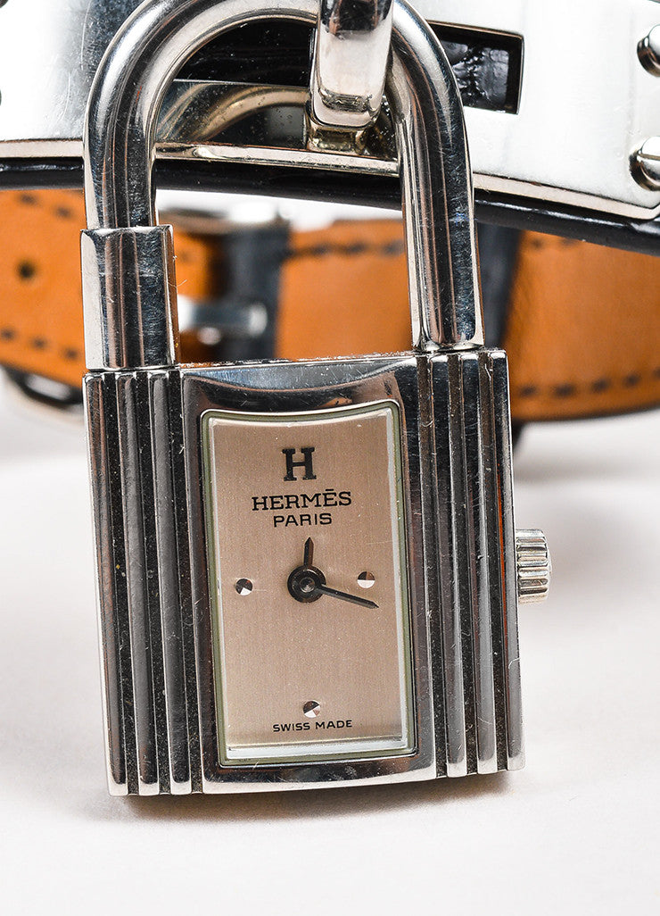 "Hermes Black Alligator Leather Quartz and Stainless Steel Padlock ""Kelly"" Watch Detail"