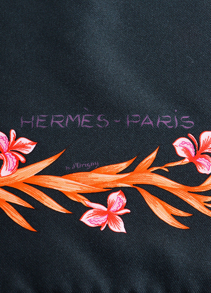 "Hermes Black and Multicolor Silk Neiman Marcus Ltd. Edition ""Cheval Fleuri"" Scarf Brand"