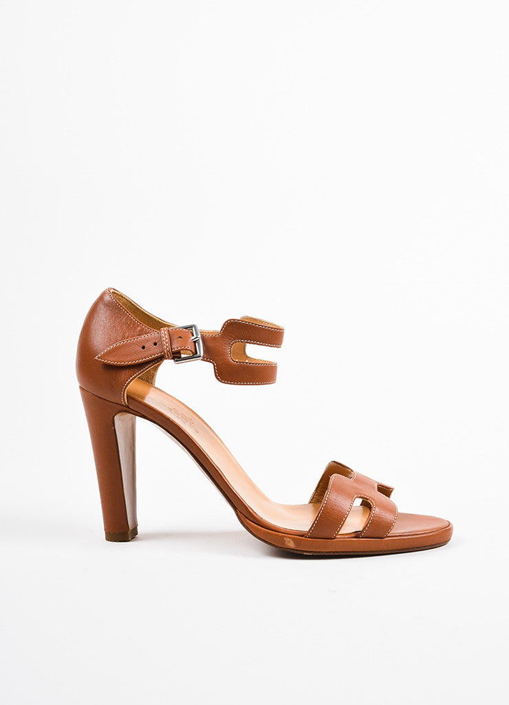 "Hermes Cognac Leather ""H"" Ankle Strap Sandal Heels Sideview"