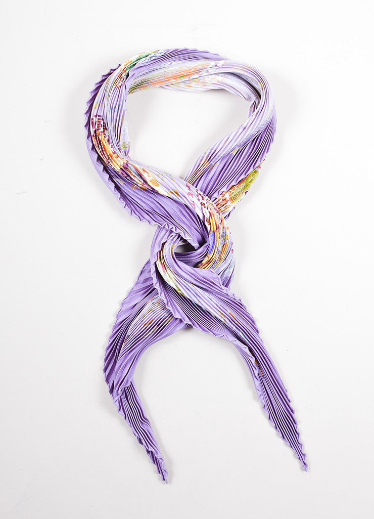 "Hermes Lavender and Multicolor Silk Pleated ""Escales Mediterraneennes"" Plisse Scarf Frontview 2"