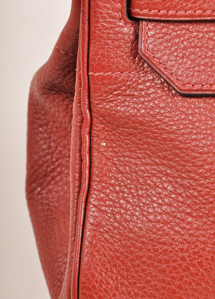 "Hermes Red ""Rouge H"" and Silver Toned Clemence Leather 42cm Shoulder Birkin Bag Detail 4"