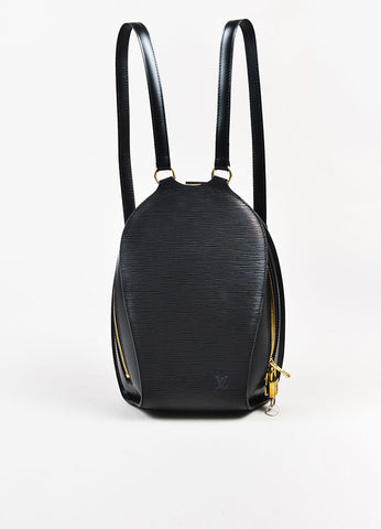 "Black Louis Vuitton Epi Leather Oval ""Mabillon"" Backpack Bag Front"