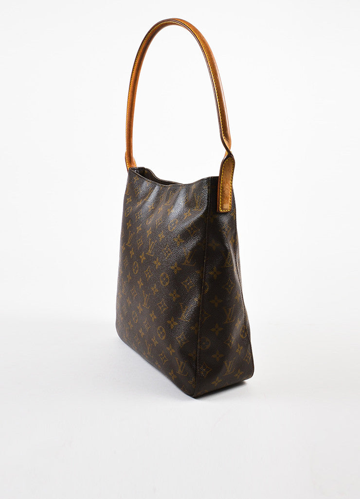 "Louis Vuitton Brown and Tan Coated Canvas Leather Monogrammed ""Looping GM"" Tote Bag Sideview"
