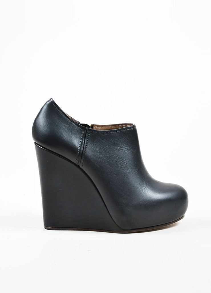 Black Marni Leather Platform Wedge Ankle Booties Sideview