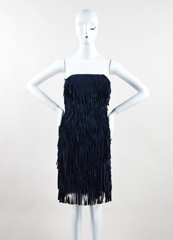 Mathieu Mirano Navy Suede Leather Silk Fringe Strapless Dress Frontview