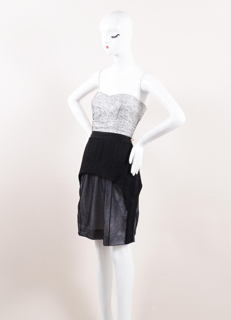 Narciso Rodriguez Black and White Silk Strapless Dress Sideview