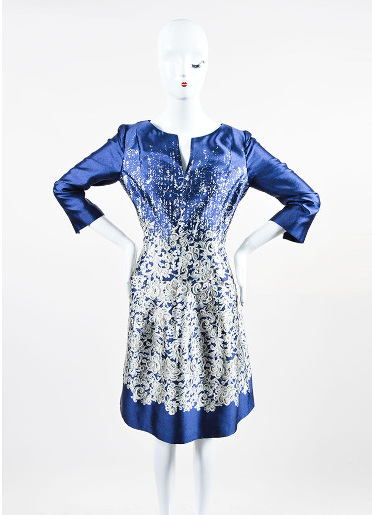 "Midnight Navy Oscar de la Renta Silk and Cotton Lace Print ""Guipure"" Dress Frontview"