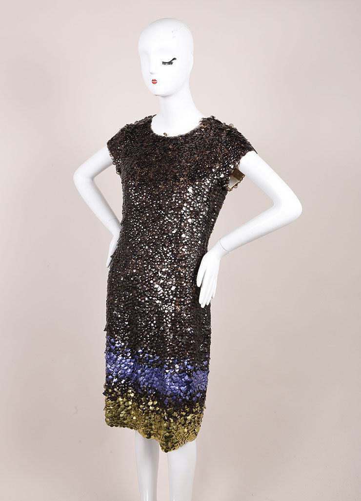 Oscar de la Renta New With Tags Grey, Purple, and Gold Silk Ombre Paillette Dress Sideview