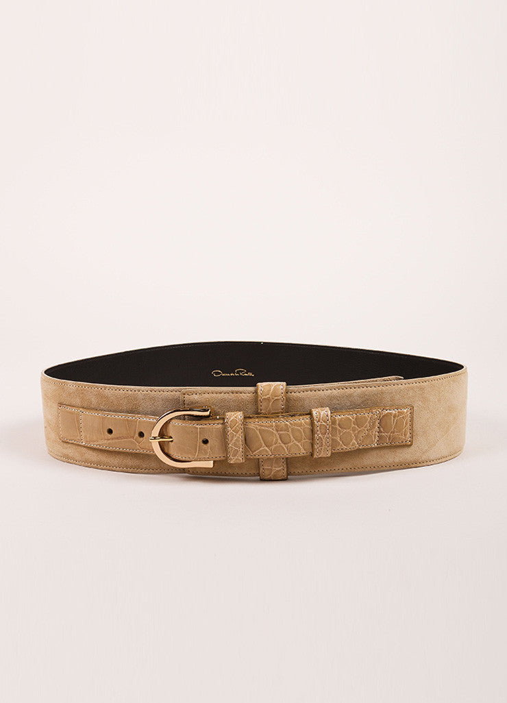 Oscar de la Renta Tan Brown Suede and Alligator Leather Buckled Belt Frontview