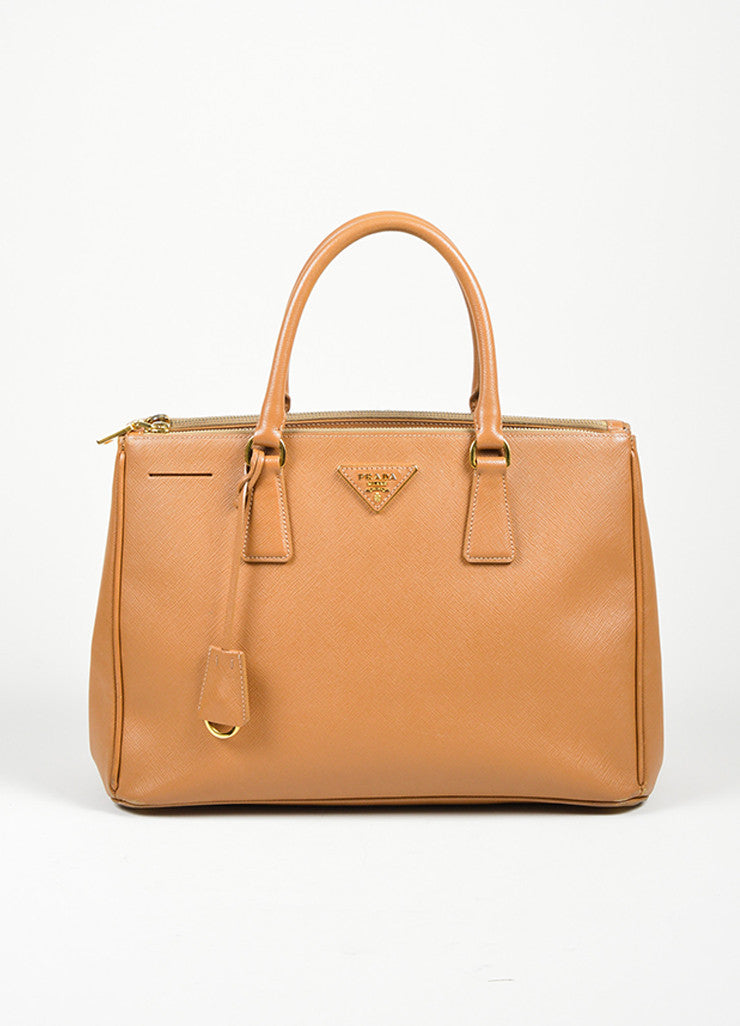 "Tan Prada Saffiano Leather ""Gardener's"" Tote Bag Frontview"