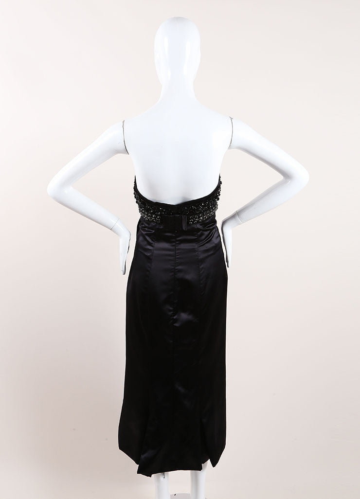 Prada Black Silk Strapless Dress Back