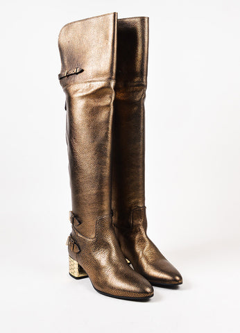Roberto Cavalli Bronze Leather Block Heel Over The Knee Boots Frontview