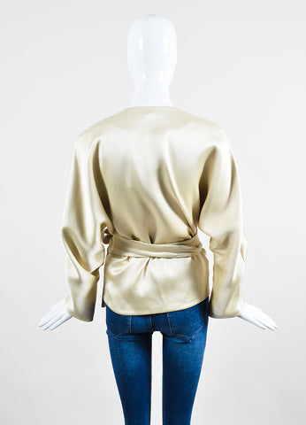 "The Row Cream Silky ""Haki"" Belted Wrap Kimono Jacket Backview"