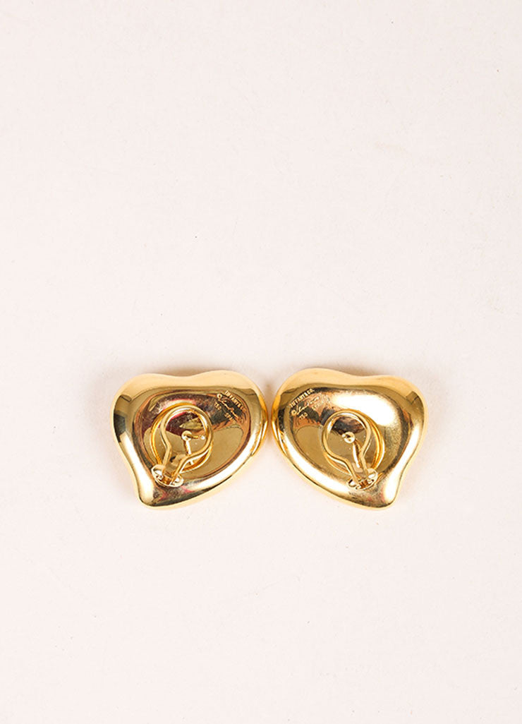 "Tiffany & Co. 18K Gold Elsa Peretti ""Full Heart"" Earrings Backview"