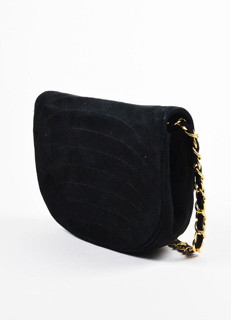 Chanel Black Suede Gold Toned Chain Strap Shoulder Bag Sideview