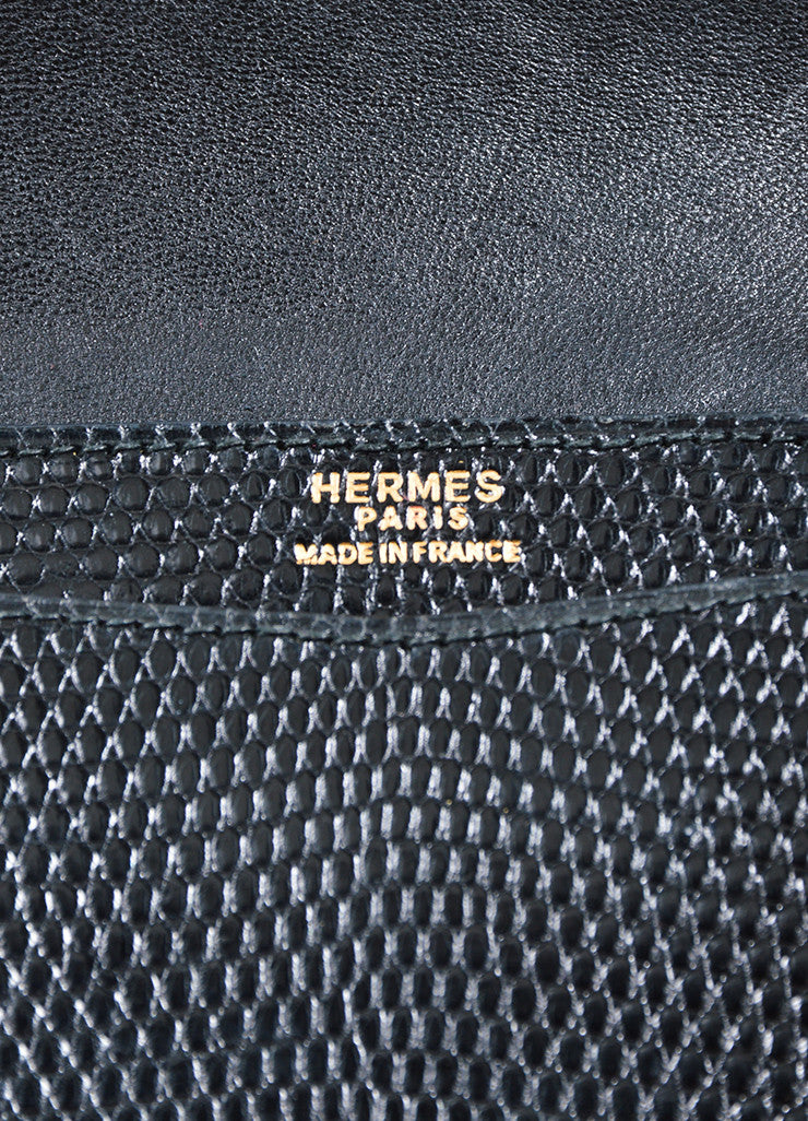 Black Hermes Lizard Leather 'H' Closure Envelope Clutch Brand