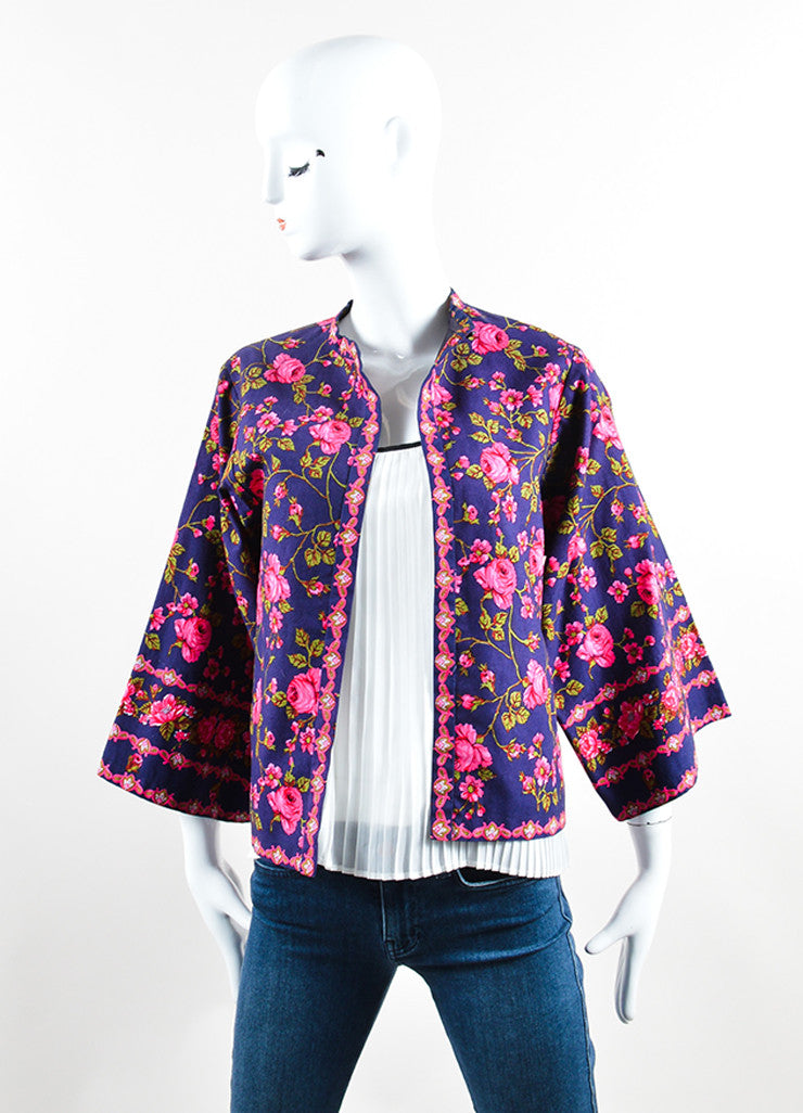 Lanvin Navy and Pink Rose Print Kimono Jacket Frontview