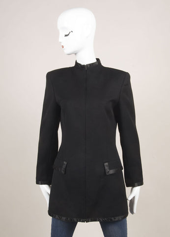 State of Claude Montana Black Wool Tailored Zip Long Jacket Frontview