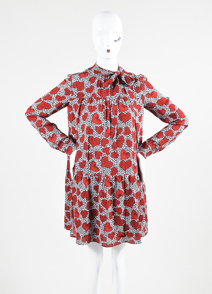 Red 	Valentino Silk Floral Heart Print Tie Long Sleeve Dress Frontview