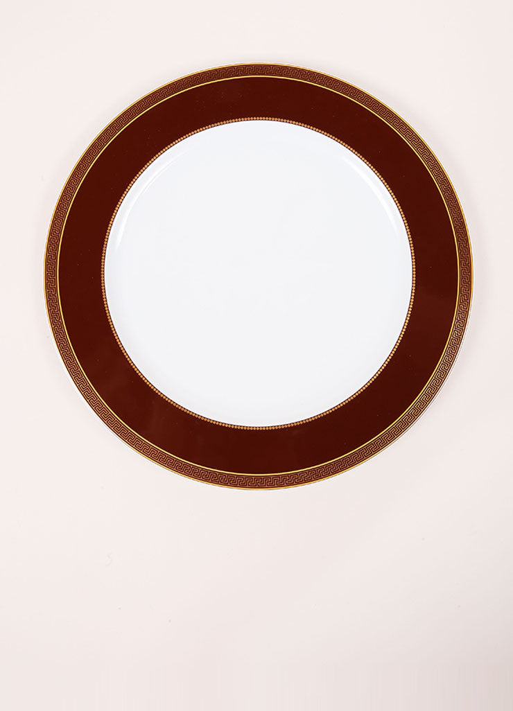 "Versace Rosenthal Brown ""Medaillon Meandre Marron"" 12 inch Service Plate Frontview"