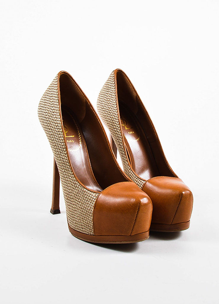 "Yves Saint Laurent ""Natural"" Tan Leather and Linen ""Tribtoo"" High Heel Pumps Frontview"