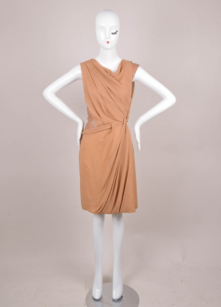 New Camel Draped Silk Dress with Brown Leather Trim